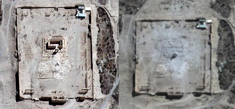 UNITAR-UNOSAT satellite images of the Temple of Bel in Syria's city of Palmyra on August 27, 2015 (L) and rubble seen at the temple's location on August 31, 2015 (R) (AFP Photo/)