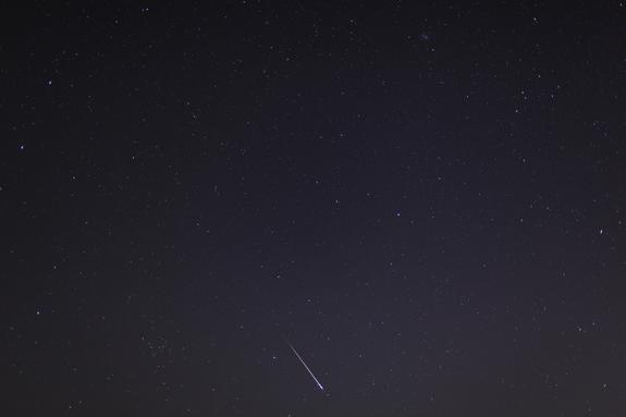 This full-frame view of a Leonid meteor was captured by astrophotographer Mike Hankey of Freeland, Md., before dawn on Nov. 17, 2012, during the peak of the annual Leonid meteor shower.