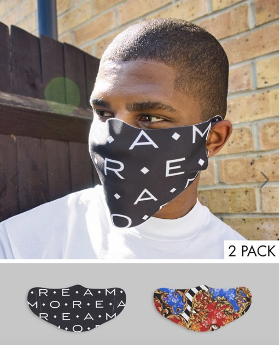 ASOS DESIGN 2 pack face-covering in baroque and slogan prints, US$19. PHOTO: ASOS