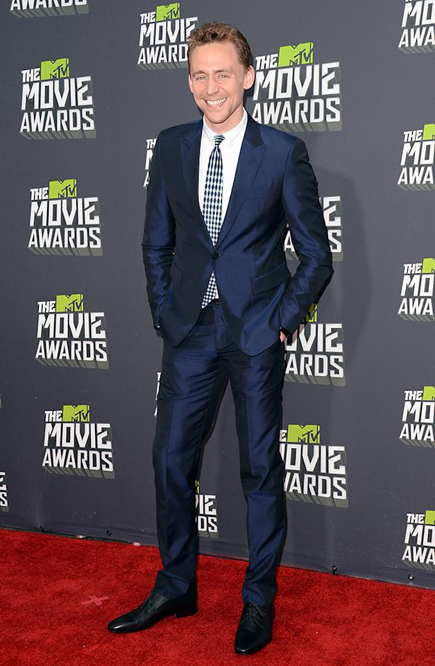 CULVER CITY, CA - APRIL 14:  Actor Tom Hiddleston arrives at the 2013 MTV Movie Awards at Sony Pictures Studios on April 14, 2013 in Culver City, California.  (Photo by Jason Merritt/Getty Images)