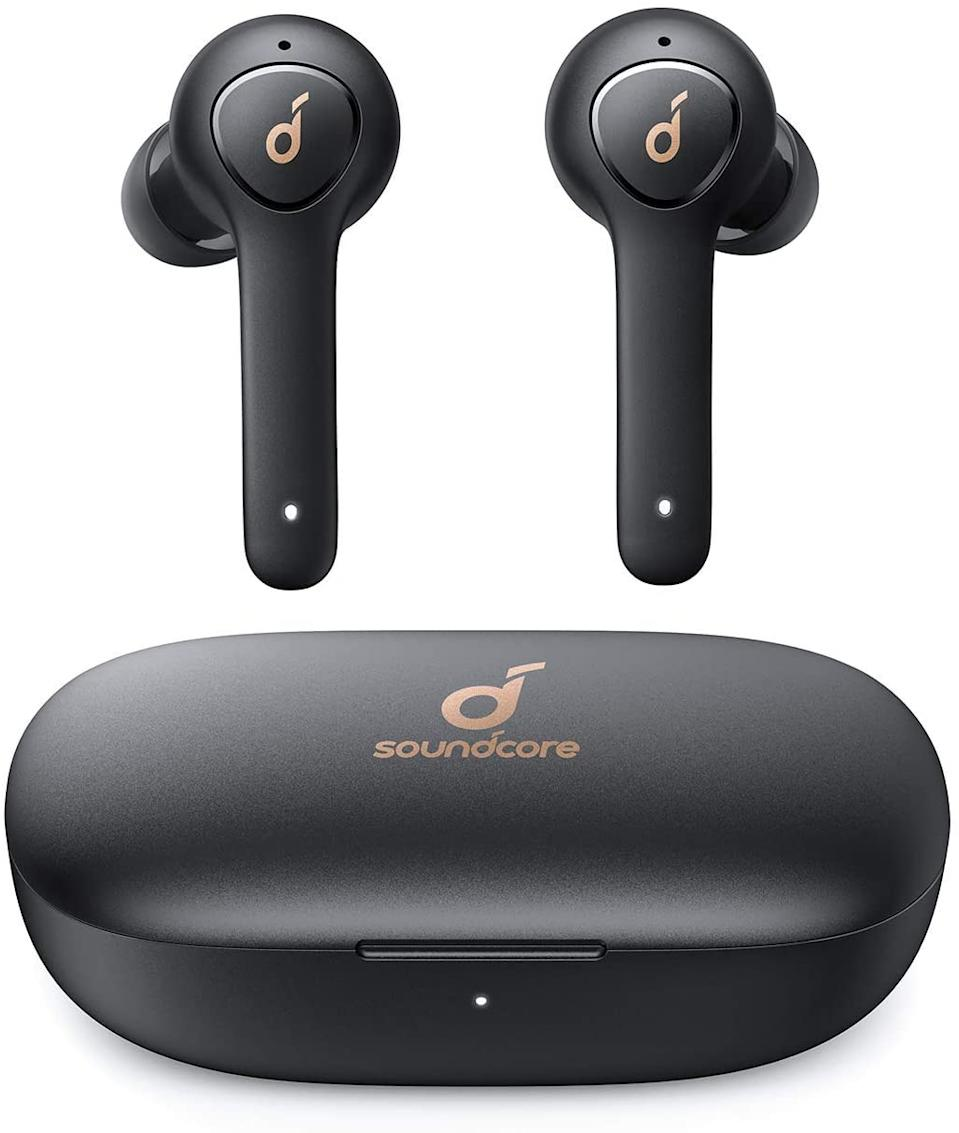 "These affordable wireless earbuds are a top pick even at regular price, and as soon as they went on sale readers were quick to add them to cart, making them the second-most purchased item of the month. <br><em><strong>SHOP IT: </strong></em><a href=""https://amzn.to/3osB9E4"" rel=""nofollow noopener"" target=""_blank"" data-ylk=""slk:Amazon, $50 (originally $70)"" class=""link rapid-noclick-resp""><em><strong>Amazon, $50 (originally $70)</strong></em></a>"