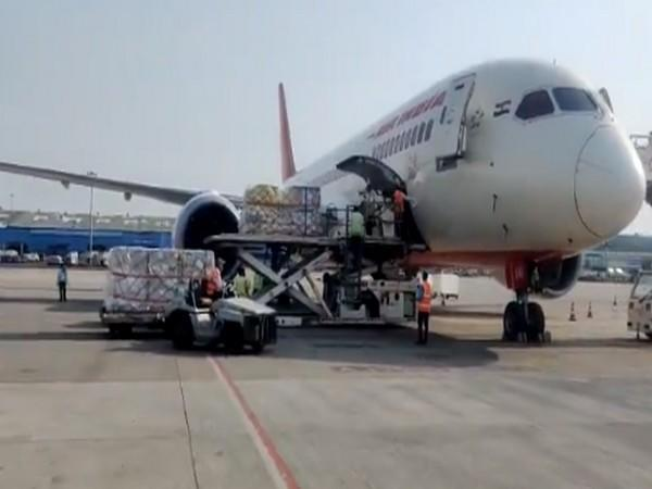 An AI 1313 from Incheon, South Korea arrives with oxygen concentrators and ventilator.