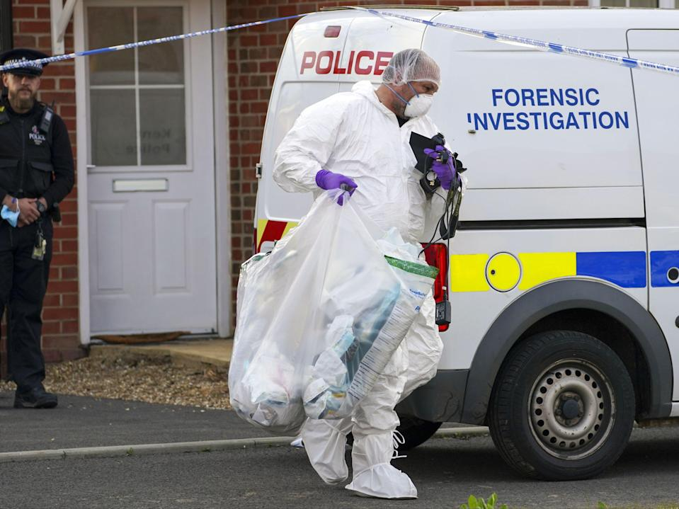 Forensic officers searched an address in Aylesham, Kent, on Saturday which police confirmed was linked to enquires over James' death (PA)