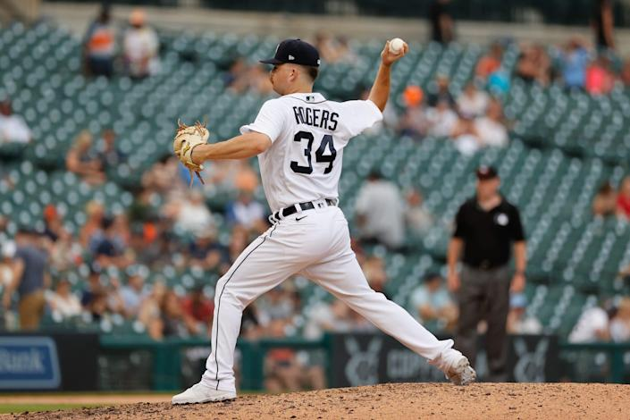 Detroit Tigers Jake Rogers (34) pitches against the Chicago White Sox in the eighth inning June 12, 2021 at Comerica Park.