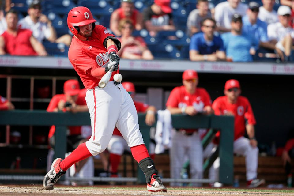 Ohio State left fielder Brady Cherry (1) connects for a base hit in the fifth inning of the NCAA Big Ten baseball championship game against Nebraska in Omaha, Neb., Sunday, May 26, 2019. Ohio State won 3-1. (AP Photo/Nati Harnik)