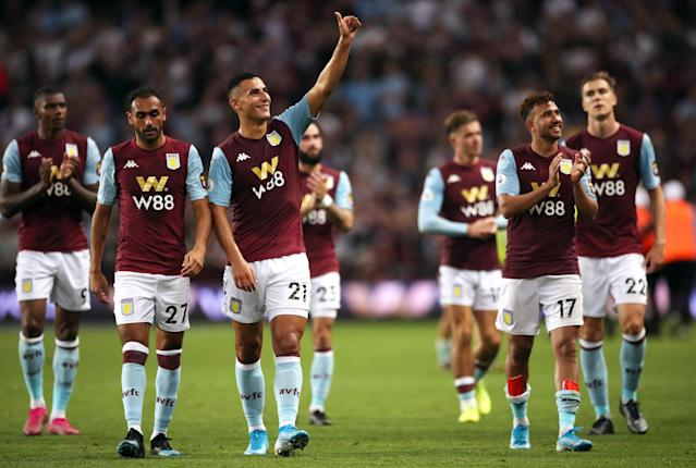 Villa celebrate after the full-time whistle (Photo by Nick Potts/PA Images via Getty Images)
