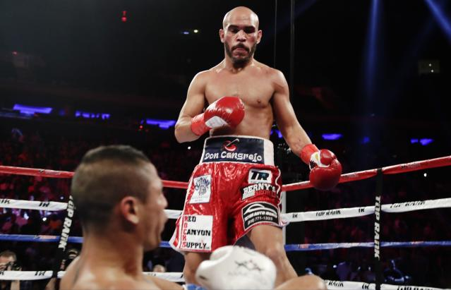 Ray Beltran, above, knocks down Jonathan Maicelo during the second round of a lightweight championship onMay 20, 2017, in New York. (AP Photo/Frank Franklin II)