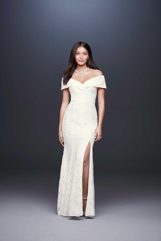<p>DB Studio off-the-shoulder gown, $260, available spring 2019 at David's Bridal </p>