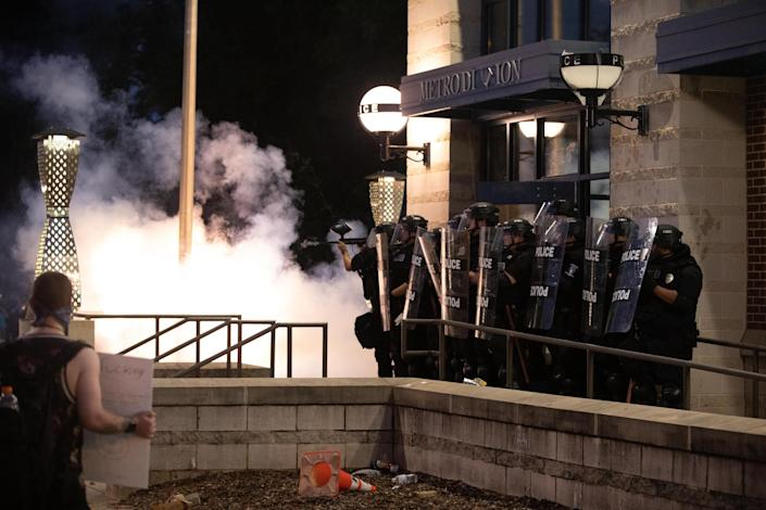 police pepper balls spray brutality george floyd protests Charlotte North Carolina