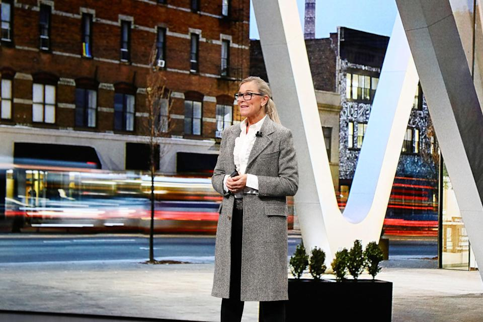 Angela Ahrendts, SVP of retail for Apple, gives a presentation during the Apple keynote event at the Brooklyn Academy of Music on Oct. 30. (Photo: Apple)