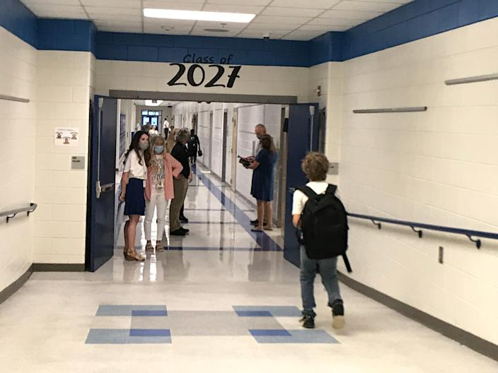A Columbia County student returns to Evans Middle School in August 2020.