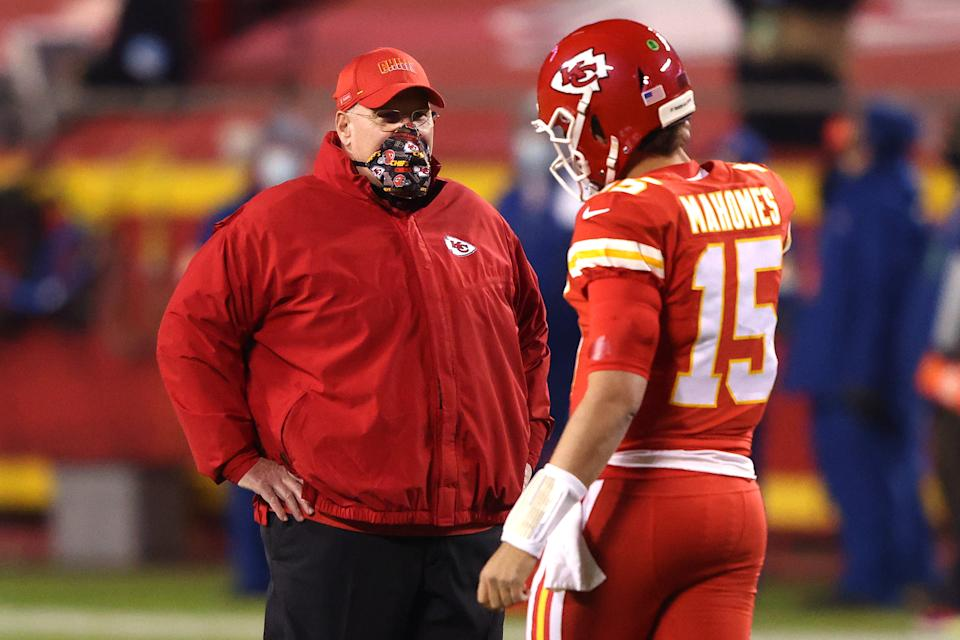 Andy Reid, left, and Patrick Mahomes, right, are two huge assets for the Kansas City Chiefs, but they have some concerning needs elsewhere on the roster. (Photo by Jamie Squire/Getty Images)