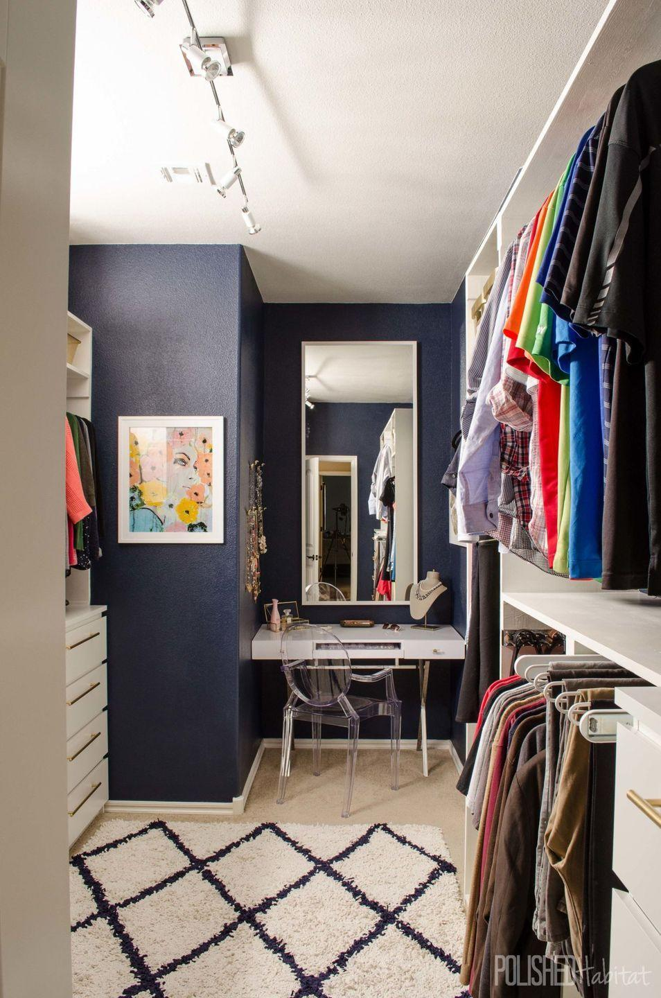"""<p>Instead of trying to make a unit tucked into a nook work, this homeowner embraced the area for her vanity and added bonus clothing storage with extra dressers.</p><p><em><a href=""""http://www.polishedhabitat.com/2015/master-closet-organization/"""" rel=""""nofollow noopener"""" target=""""_blank"""" data-ylk=""""slk:See more at Polished Habitat »"""" class=""""link rapid-noclick-resp"""">See more at Polished Habitat »</a></em></p><p><strong>What you'll need: </strong><span class=""""redactor-invisible-space"""">closet storage system, $124, <a href=""""https://www.amazon.com/ClosetMaid-22875-ShelfTrack-Adjustable-Organizer/dp/B0026SRX5Y/?tag=syn-yahoo-20&ascsubtag=%5Bartid%7C10072.g.36006557%5Bsrc%7Cyahoo-us"""" rel=""""nofollow noopener"""" target=""""_blank"""" data-ylk=""""slk:amazon.com"""" class=""""link rapid-noclick-resp"""">amazon.com</a></span><br></p>"""