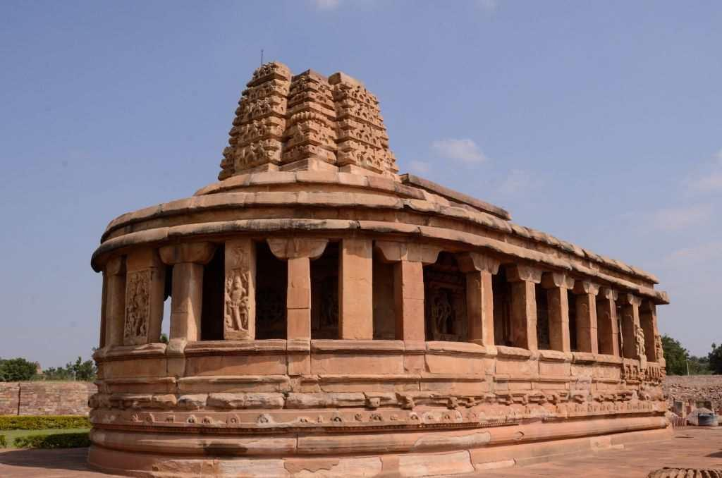 "<p>A visit to Aihole starts with the Durga temple built between the 7th and 8th centuries by the Chalukyas. Ironically, it is not dedicated to Goddess Durga but takes the name after ""Durg"" or fortress, which may have referred to the proximity of the fort nearby. Built in a fusion of Dravidian and Nagara styles of architecture, the temple's apsidal design is also referred to as ""Gajaprasta"", referring to the shape of an elephant's back.</p>"