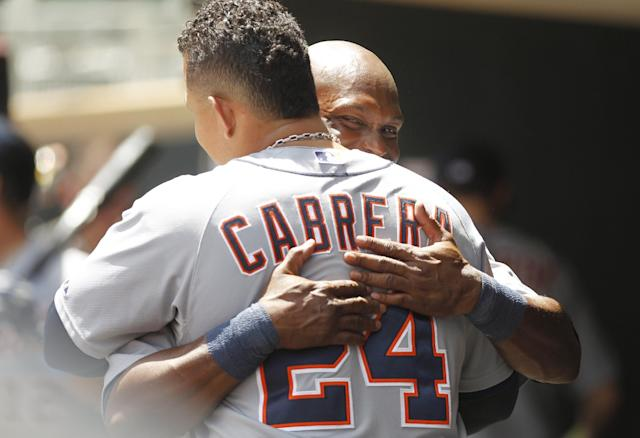 Detroit Tigers' Torii Hunter,right, is congratulated by Miguel Cabrera (24) after hitting a two-run home run against Minnesota Twins starting pitcher P.J. Walters during the first inning of a baseball game, Sunday, June 16, 2013, in Minneapolis. This was Hunter's 300th career home run. (AP Photo/Genevieve Ross)