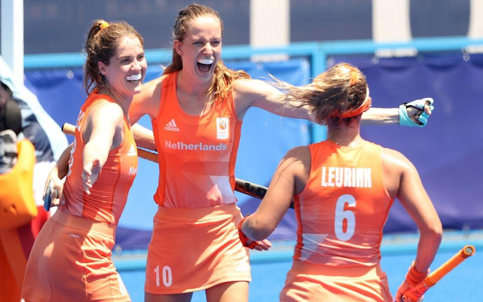 Felice Albers celebrates her second and the Netherlands' fourth - GETTY IMAGES
