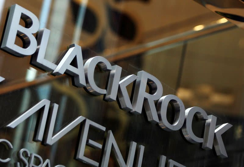 FILE PHOTO: The BlackRock logo is seen outside of its offices in New York