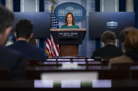 White House press secretary Jen Psaki speaks during a press briefing at the White House, Monday, Jan. 25, 2021, in Washington. (AP Photo/Evan Vucci)