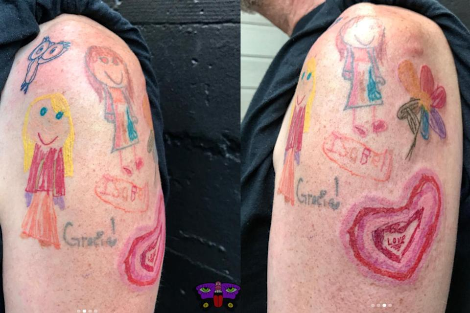 The tattoos on this dad's arm were inspired by his daughters' own drawings. (Photo: jess_koala_tattoo/Instagram)