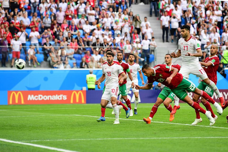 Morocco's Aziz Bouhaddouz scored a 95th-minute own goal to give Iran a 1-0 win in Group B at the 2018 World Cup. (Getty)
