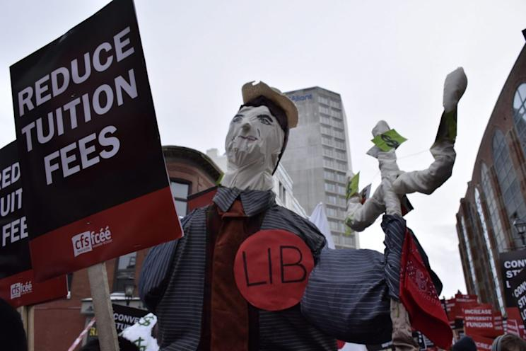 At the 2015 All Out protest, Canadian Federation of Students Nova Scotia called on supporters to tell the government education is a right, in Halifax, Nova Scotia. (Newzulu/The Canadian Press)
