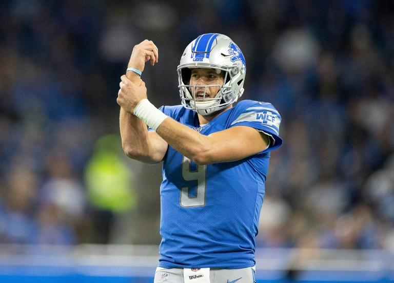 Detroit Lions quarterback  Matthew Stafford reacts to a holding call during the second quarter of the game against the Minnesota Vikings at Ford Field
