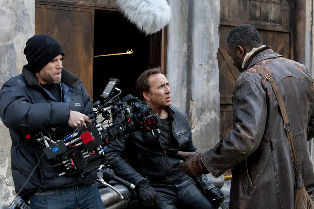"Nicolas Cage on the set of Columbia Pictures' <a href=""http://movies.yahoo.com/movie/ghost-rider-spirit-of-vengeance/"">Ghost Rider: Spirit of Vengeance</a> - 2012"