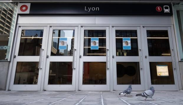 A quiet Lyon light rail station entrance in Ottawa in early April 2021. (Andrew Lee/CBC - image credit)