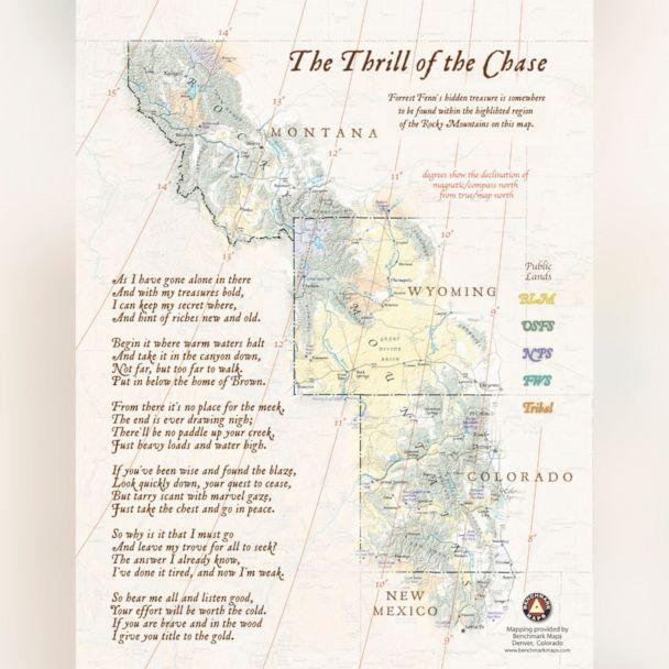 PHOTO: A map with clues to the location of Forrest Fenn's hidden treasure was published in Fenn's book, 'Too Far to Walk.' (Forrest Fenn/Too Far to Walk)