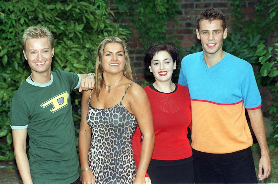 From left; Stuart Miles, Katy Hill, Romana D'Annunzio and Richard Bacon, presenters of the BBC flagship children's programme Blue Peter, which returns for its fortieth series this month, at the launch of the BBC Children's TV Autumn schedules today (Wed). Photo by Ben Curtis/PA   (Photo by Ben Curtis - PA Images/PA Images via Getty Images)