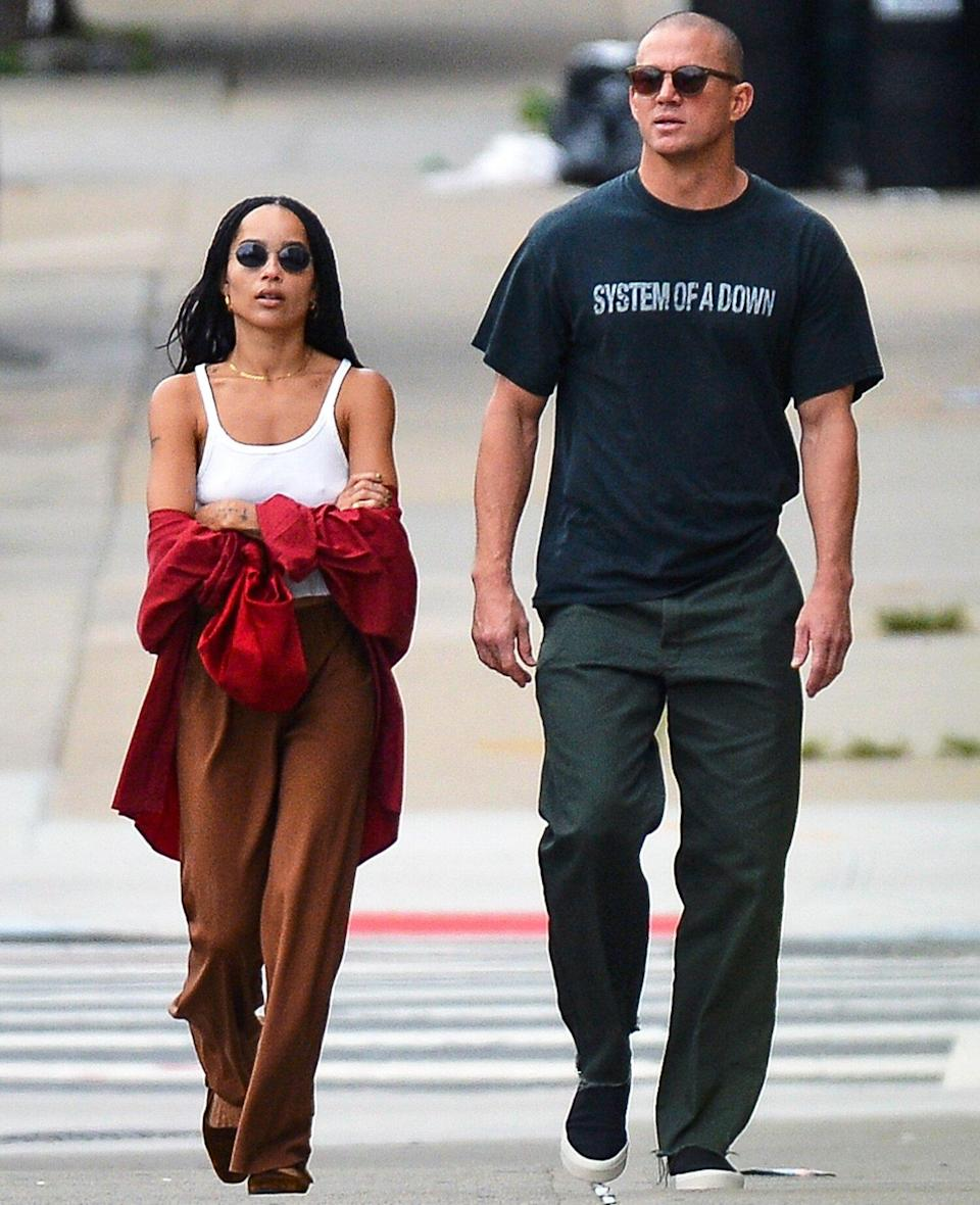 08/28/2021 Channing Tatum and Zoe Kravitz meet up with a friend for lunch as they continue to fuel dating rumors in New York City.