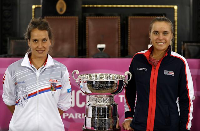 Czech Republic's Barbara Strycova, left, and United States' Sofia Kenin, right, pose for a photo in Prague, Czech Republic, Friday, Nov. 9, 2018 after a draw for the tennis Fed Cup Final between Czech Republic and the United States. The final takes place on Saturday, Nov. 10 and Sunday, Nov. 11, 2018. (AP Photo/Petr David Josek)