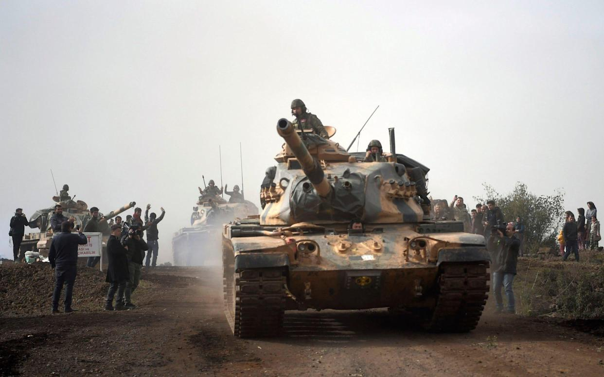 Turkish forces have crossed the Syrian border to attack the district of Afrin - AP