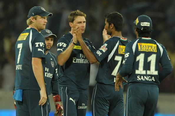 Deccan Chargers bowler Dale Steyn (3L) c : News Photo
