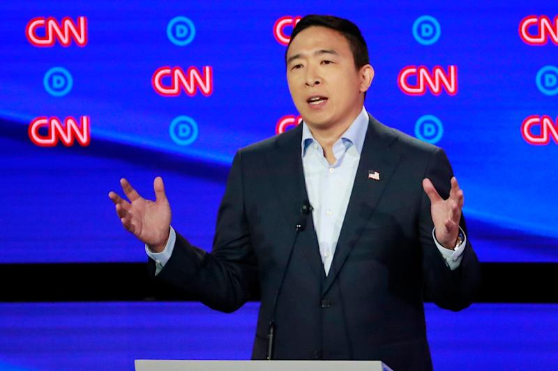 Entrepreneur Andrew Yang speaks on the second night of the second 2020 Democratic U.S. presidential debate in Detroit on July 31, 2019.  (Photo: Lucas Jackson / Reuters)
