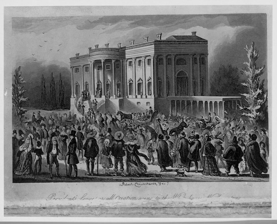 """<p>President Andrew Jackson welcomed supporters to the White House for his inaugural ball in 1829. However, some of the group soon grew rowdy. As a result, it became customary for the <a href=""""https://www.smithsonianmag.com/smithsonian-institution/when-was-first-inaugural-ball-180961863/"""" rel=""""nofollow noopener"""" target=""""_blank"""" data-ylk=""""slk:inaugural ball to be held at other venues"""" class=""""link rapid-noclick-resp"""">inaugural ball to be held at other venues</a>. </p>"""