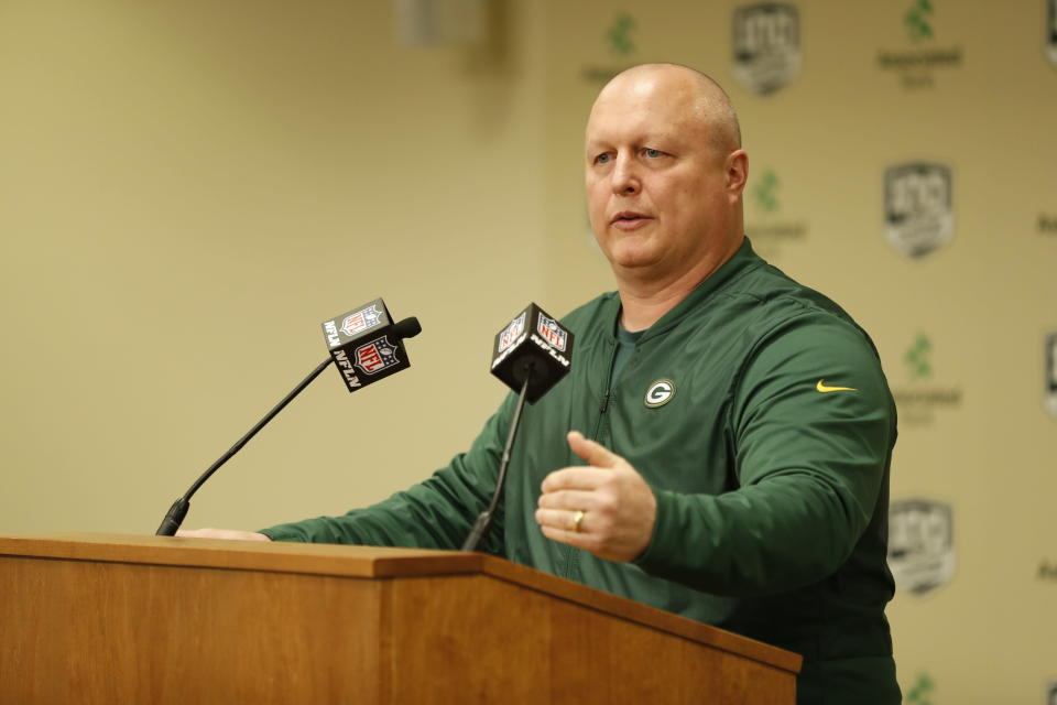 FILE - In this Feb. 18, 2019, file photo, Green Bay Packers' special teams coordinator Shawn Mennenga addresses the media during a news conference in Green Bay, Wis. Packers defensive coordinator Mike Pettine and Mennenga have been fired after the teams second straight NFC championship game loss. Packers coach Matt LaFleur made the announcement Friday, Jan. 29, 2021. (AP Photo/Matt Ludtke, File)