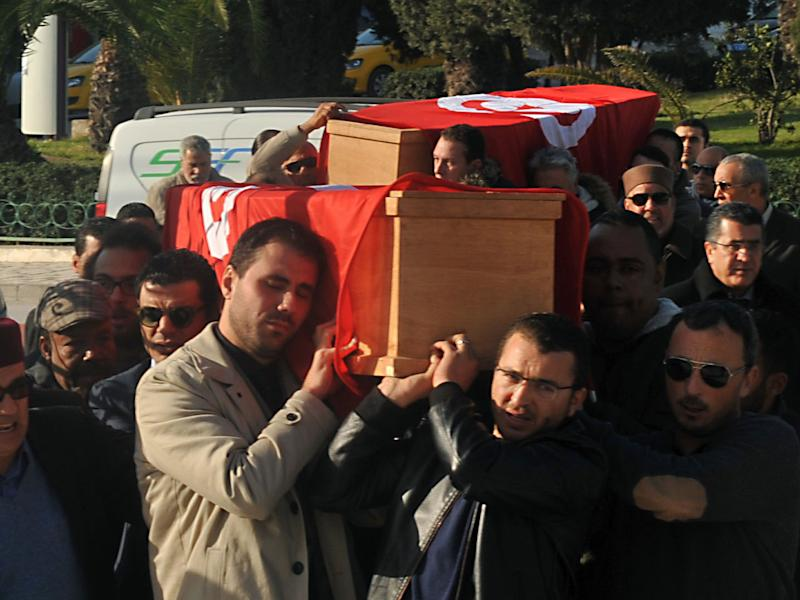Relatives and friends carry the coffins of husband and wife Mohamed Azzabi and Senda Nakaa, who were victims of the Istanbul nightclub shooting on New Year's Eve, during their funeral in Tunisia: AFP/Getty Images