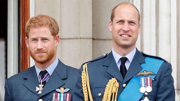 PHOTO: Prince Harry, Duke of Sussex and Prince William, Duke of Cambridge watch a flypast to mark the centenary of the Royal Air Force from the balcony of Buckingham Palace, July 10, 2018, in London. (Max Mumby/indigo/Getty Images, FILE)