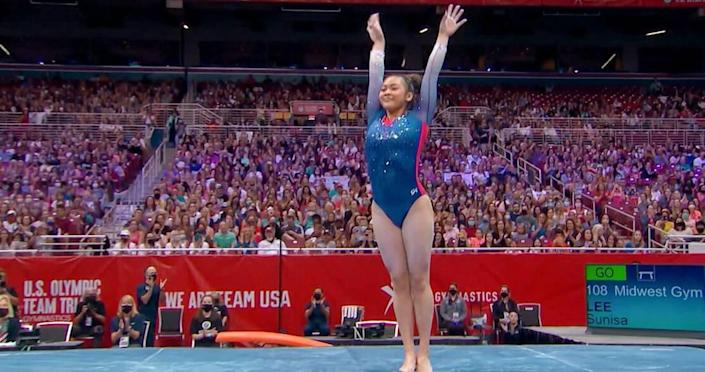 """Sunisa Lee in the Peacock documentary """"Golden: The Journey of USA's Elite Gymnasts."""""""