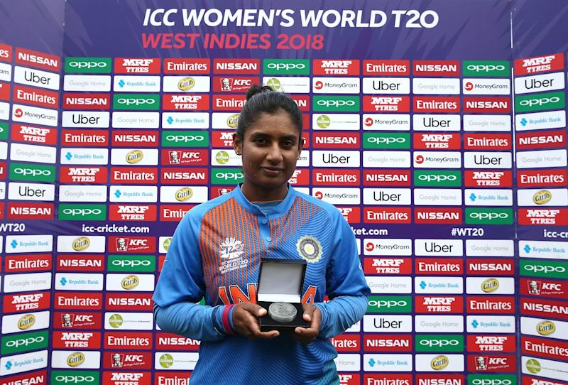 PROVIDENCE, GUYANA - NOVEMBER 15: Mithali Raj of India poses with the player of the match award during the ICC Women's World T20 2018 match between India and Ireland at Guyana National Stadium on November 15, 2018 in Providence, Guyana. (Photo by Jan Kruger-ICC/ICC via Getty Images)