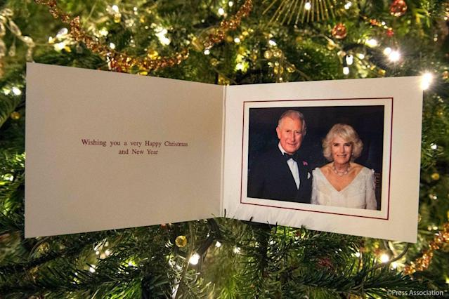 "Speaking of royals, here's the official card from the Prince of Wales and the Duchess of Cornwall, which was taken by Hugo Burnand at Highgrove in July when they celebrated Camilla's 70th birthday. Simple. Regal. (Photo: <a href=""https://twitter.com/ClarenceHouse/status/942696220384026624"" rel=""nofollow noopener"" target=""_blank"" data-ylk=""slk:Hugo Burnand/Twitter"" class=""link rapid-noclick-resp"">Hugo Burnand/Twitter</a>)"