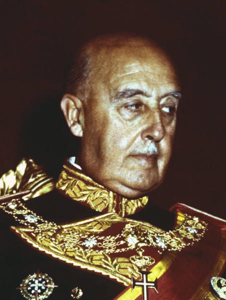 FILE, undated file photo of former Spanish dictator Francisco Franco. After a tortuous judicial and public relations battle, Spain's Socialist government has announced that Gen. Francisco Franco's embalmed body will be relocated from a controversial shrine to a small public cemetery where the former dictator's remains will lie along his deceased wife. (AP Photo/file)