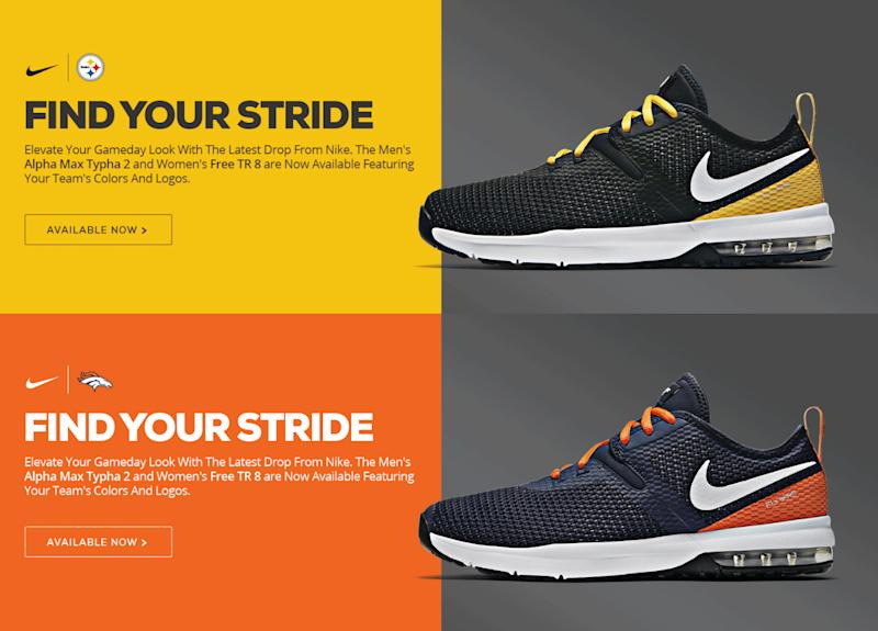 timeless design afc83 3f96d Nike unveils new shoes in the colours of 15 NFL teams