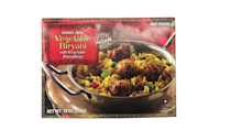 <p>This is definitely one of the best vegetarian options at TJ's. It takes a little longer than the directions say to heat through, but the dumplings are good and the rice and veggies have a kick to them.</p>