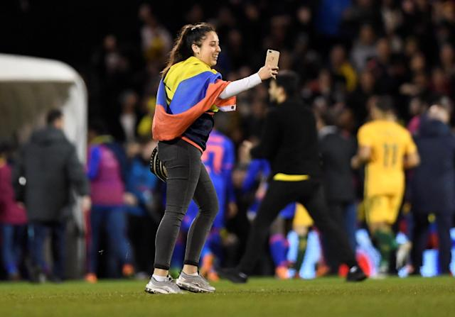 Soccer Football - International Friendly - Australia vs Colombia - Craven Cottage, London, Britain - March 27, 2018 Colombia fan invades the pitch Action Images via Reuters/Tony O'Brien