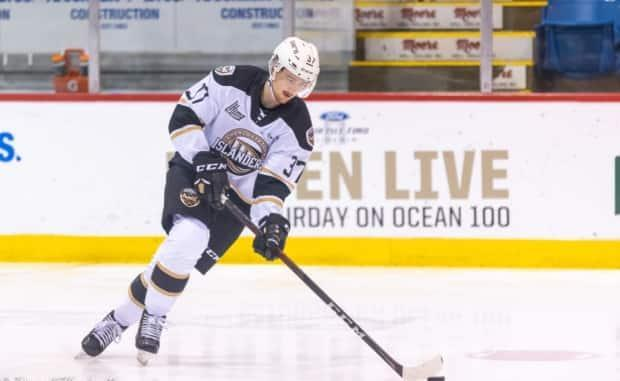 Baily Peach scored the game-winning goal for the Charlottetown Islanders in their 4-3 victory Friday night over Victoriaville. (Darrell Theriault - image credit)