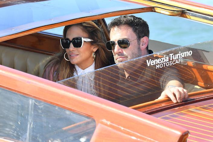 <p>Jennifer Lopez and Ben Affleck make their arrival in Venice, Italy, on Sept. 8 ahead of the premiere of Affleck's latest film.</p>