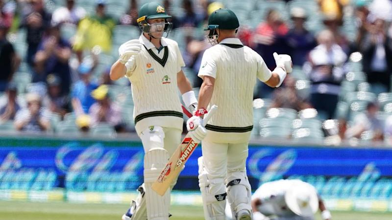 Marnus Labuschagne (l) and David Warner put on 361 runs for the second wicket at Adelaide Oval