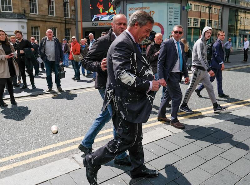 Mr Farage was pelted with milkshake as he campaigned in Newcastle (Getty)